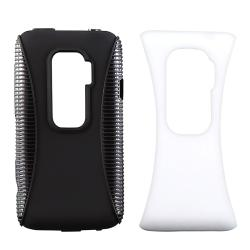 Black and White TPU Rubber Skin Case/ Screen Protector for HTC EVO 3D