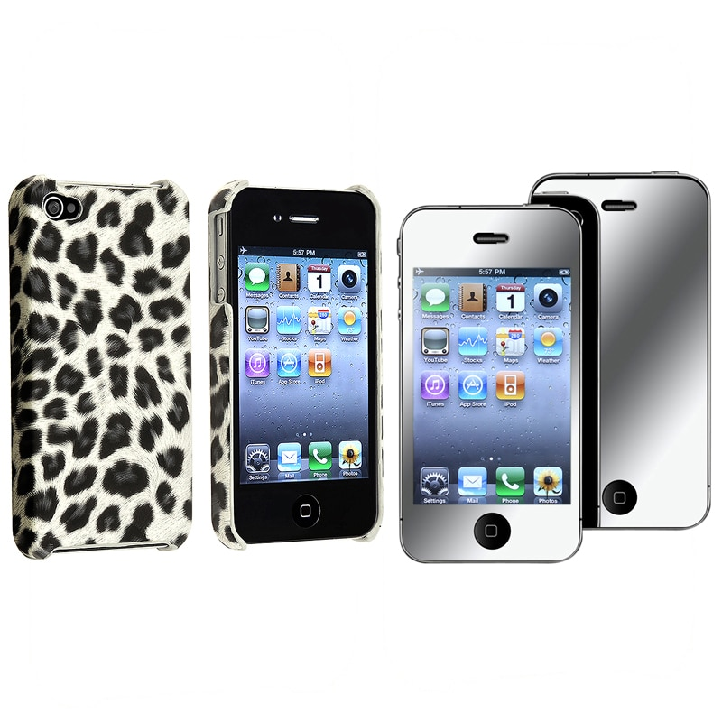 Leopard Case/ Mirror Screen Protector for Apple iPhone 4