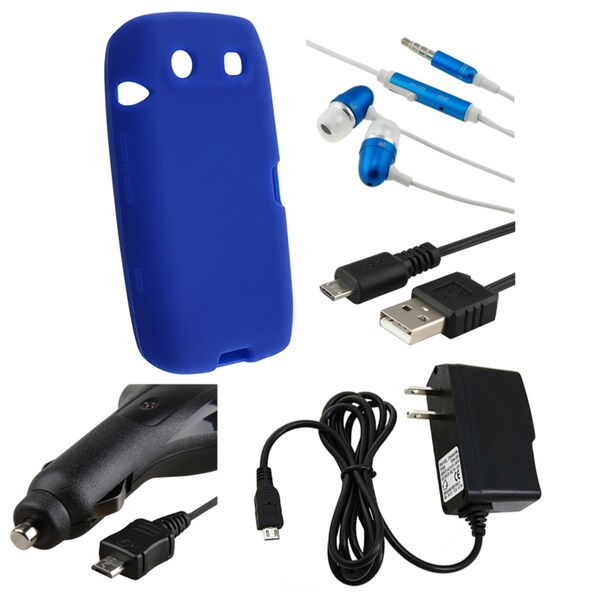 BasAcc Blue Case/ Headset/ Chargers/ Cable for BlackBerry Torch 9850
