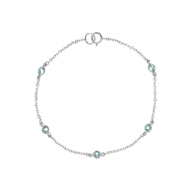 Sterling Silver Genuine Blue Topaz Station Bracelet