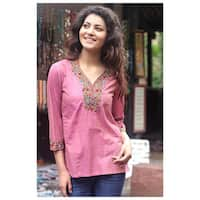 Handmade Cotton 'Rose Floral' Blouse (India)