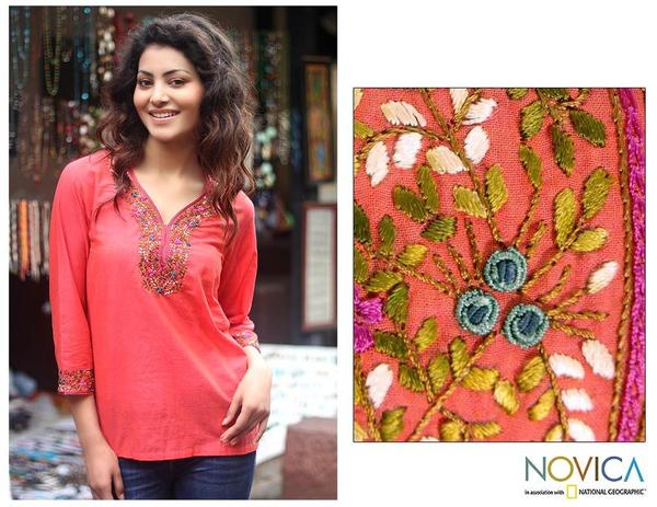 Cotton 'Tangerine Floral' Blouse (India)