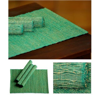 Set of 4 Handmade Cotton 'Emerald Nature' Placemats (Indonesia)
