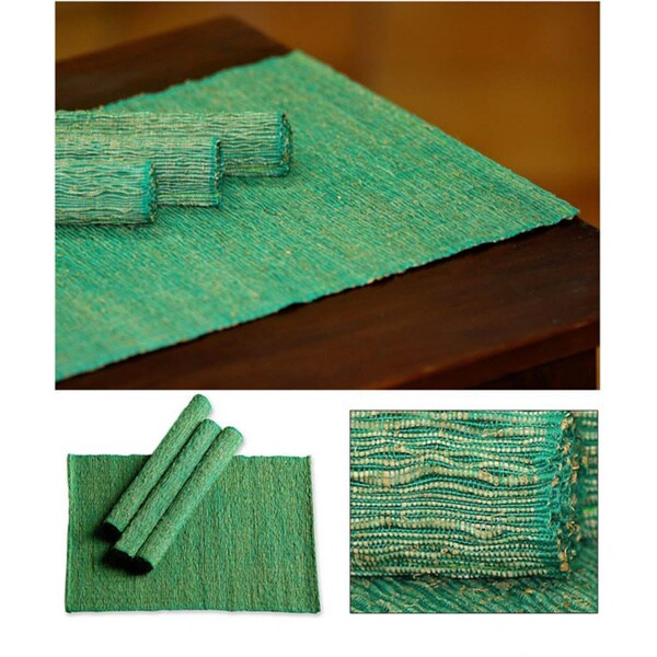 Set of 4 Handwoven Cotton 'Emerald Nature' Placemats  (Indonesia)