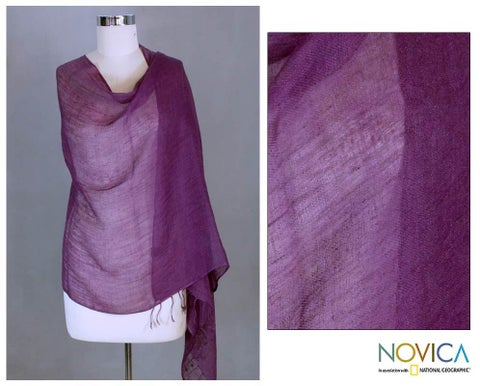 Handmade Linen 'Sheer Amethyst' Shawl (India)