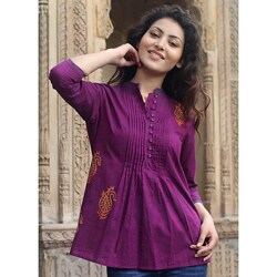 Handmade Cotton 'Wine Delight' Blouse (India)