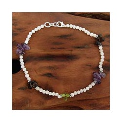 Sterling Silver 'Rainbow Light' Multi-gemstone Anklet (India)