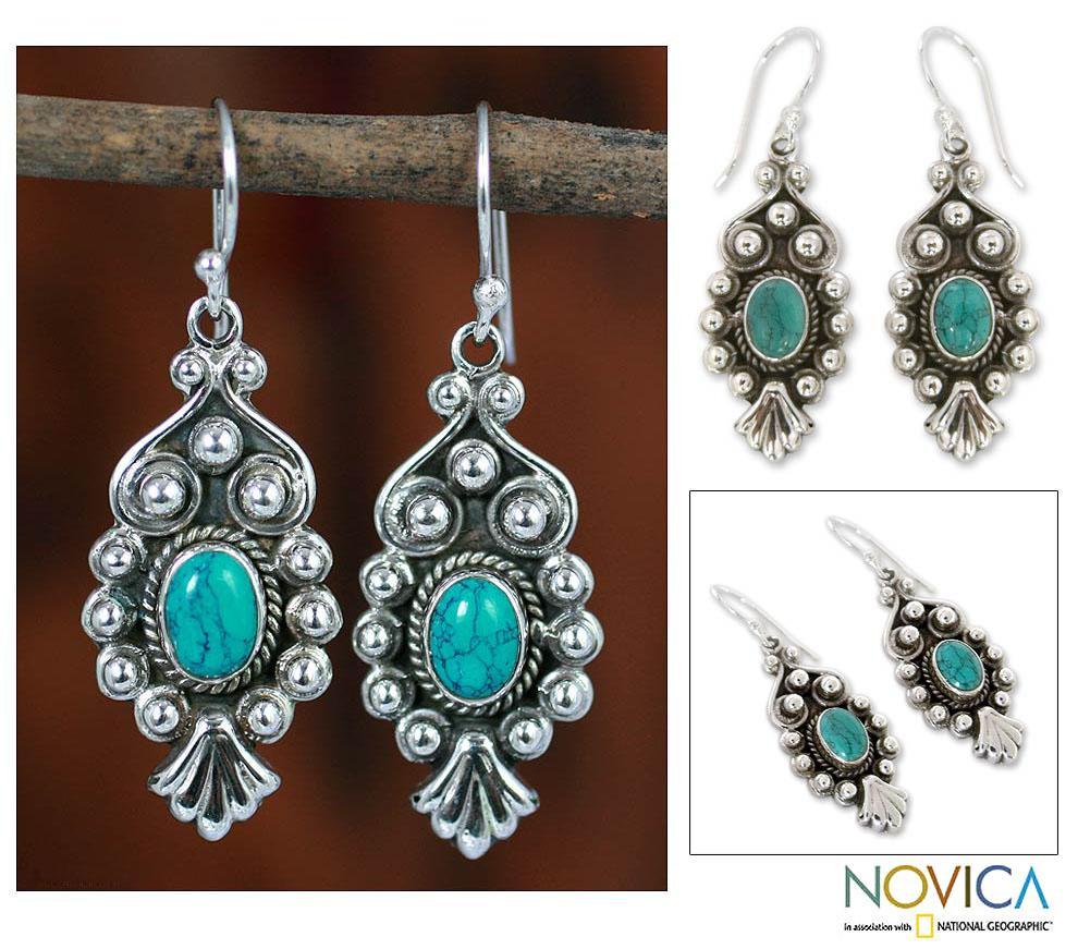 Sterling Silver 'Breathtaking Blue' Magnesite Earrings (India)