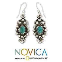 Sterling Silver 'Breathtaking Blue' Magnesite Earrings (India) - Thumbnail 1