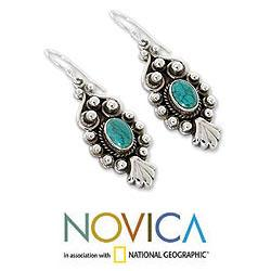Sterling Silver 'Breathtaking Blue' Magnesite Earrings (India) - Thumbnail 2