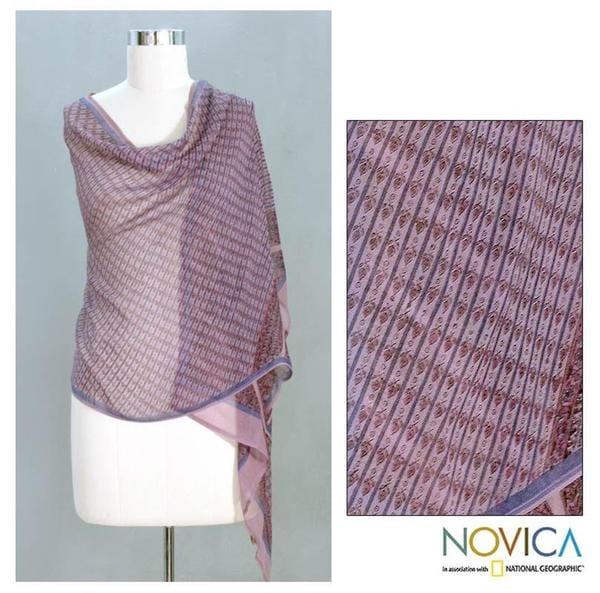 Handmade Silk 'Mauve Monsoon' Shawl (India)