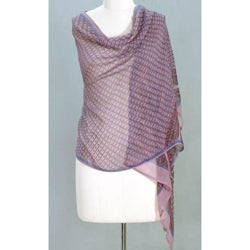 Handmade Silk 'Mauve Monsoon' Shawl (India)