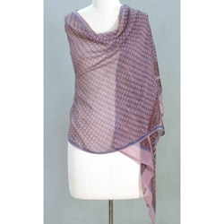 Handcrafted Silk 'Mauve Monsoon' Shawl (India)