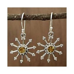 Sterling Silver 'Sunshine Daze' Citrine Dangle Earrings (India)