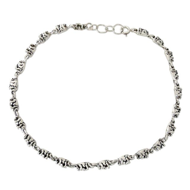 Sterling Silver Elephant Parade Oxidized Finish Anklet
