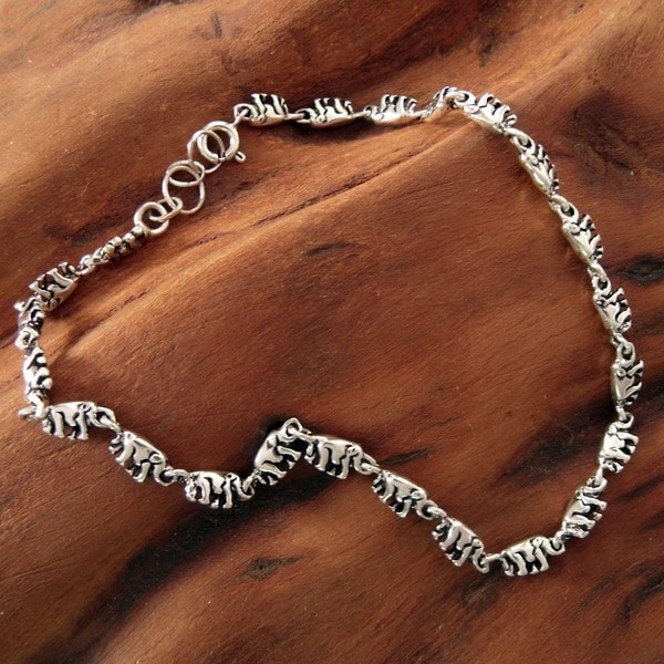 Handmade Sterling Silver Elephant Parade Oxidized Finish Anklet (India)
