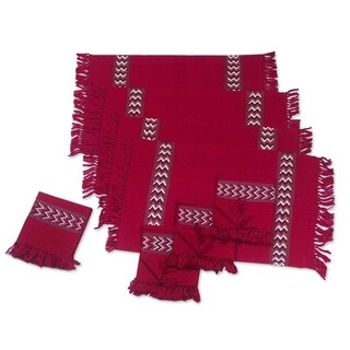 Handmade Set of 4 Cotton 'Scarlet Hills' Placemats and Napkins (Guatemala)