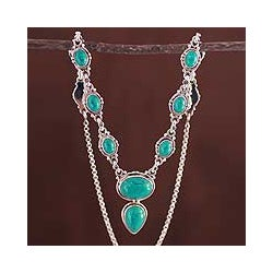 Sterling Silver 'Sky Dream' Magnesite Necklace (India)