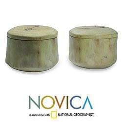 Set of 2 Granadillo Wood 'Coban' Salt and Pepper Bowls (Guatemala)
