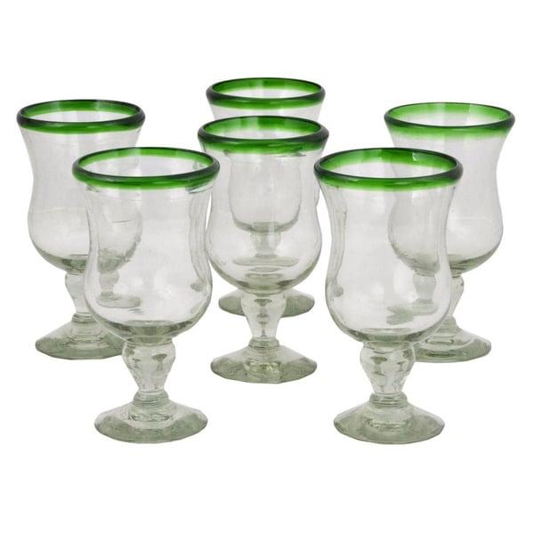 Handmade Set of 6 Blown Glass 'Caribbean' Pina Colada Glasses (Mexico)