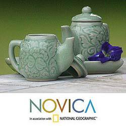 Set of 2 Celadon Ceramic 'Inseparable' Condiment Set (Thailand)