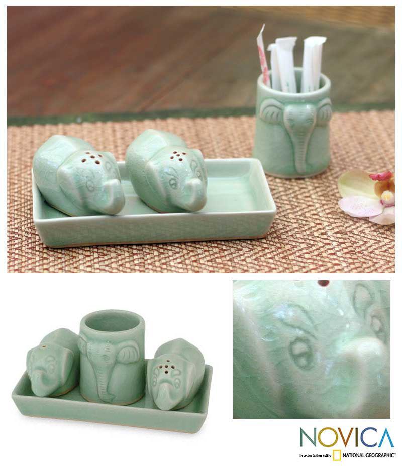 Shop Handmade Set of 4 Celadon Ceramic \'Elephant Spice\' Condiment ...