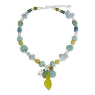 Pearl 'Goddess' Multi-gemstone Necklace (5-6 mm) (Thailand)