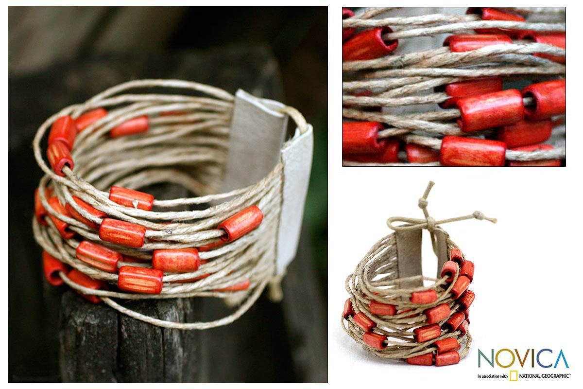Bamboo and Leather 'Amazon Tangerine' Wristband Bracelet (Brazil)