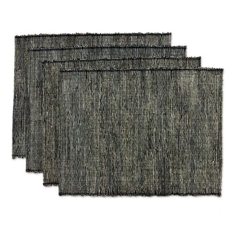 Handmade Set of 4 Cotton Natural Fibers Nature By Night Placemats (Indonesia)