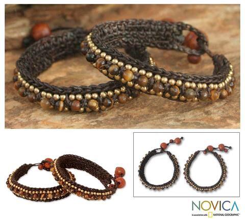 Handmade Set of 2 Brass 'Tribal Chic' Tiger's Eye Bracelets (Thailand)
