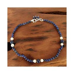 Handmade Sterling Silver 'Mystic Truth' Pearl Anklet (5.5-6 mm) (India)