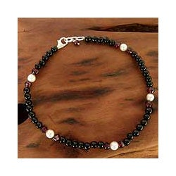 Handmade Sterling Silver 'Royal Dancer' Pearl Anklet (5 mm) (India)