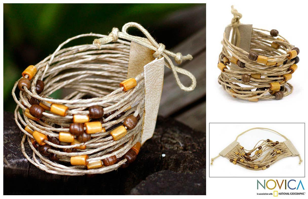 Bamboo and Leather wristband Bracelet 'Amazon Sun' (Brazil)
