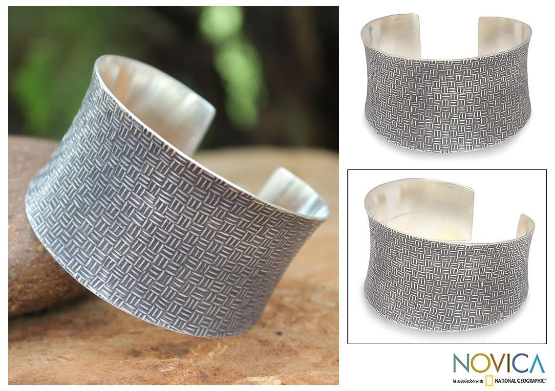 Sterling Silver 'Northern Inspiration' Cuff Bracelet (Thailand)