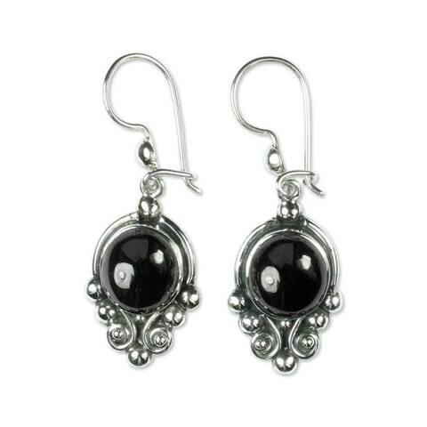 "Handmade Praise Love Black Spinel Sterling Silver Earrings (Guatemala) - 0.6"" x 1.7"""