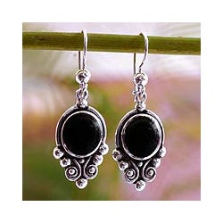 Handmade Sterling Silver 'Praise Love' Black Spinel Earrings (Guatemala)