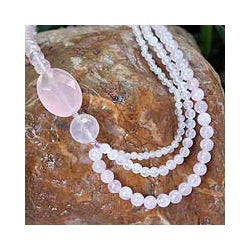 Handmade Sterling Silver 'Pretty Pink' Rose Quartz Necklace (Thailand)