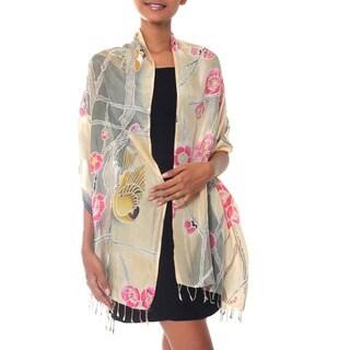 Handmade Silk 'Cherry Blossoms' Batik Shawl (Indonesia)