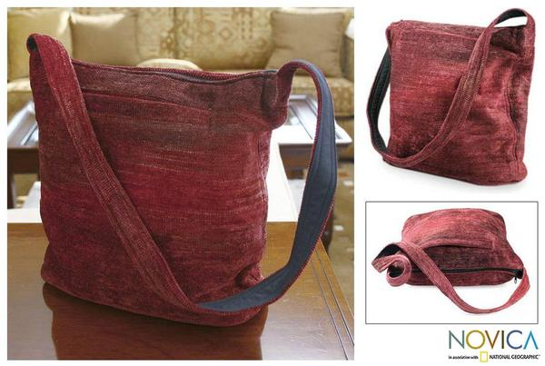Handmade Bamboo Chenille 'Love' Medium Shoulder Bag (Guatemala)