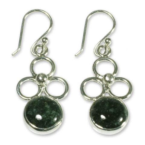 Handmade Sterling Silver Trinity of Faith Jade Earrings (Guatemala)