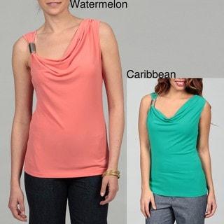 Calvin Klein Women's Cowl Neck Shoulder Embellished Top