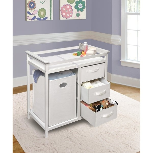 Modern Baby Changing Table with Hamper and 3 Baskets. Opens flyout.