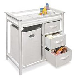 Modern White Changing Table with Hamper and Three Baskets