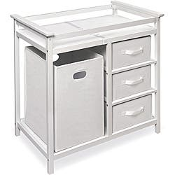 Modern White Changing Table with Hamper and Three Baskets|https://ak1.ostkcdn.com/images/products/6297192/Modern-White-Changing-Table-with-Hamper-and-Three-Baskets-P13928134.jpg?impolicy=medium