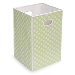 Sage Polka Dot Folding Hamper and Storage Bin
