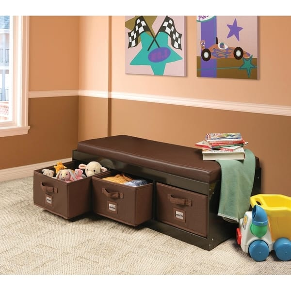 Surprising Shop Badger Basket Kids Storage Bench With Cushion And Beatyapartments Chair Design Images Beatyapartmentscom