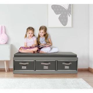 Kid's Storage Bench with Cushion and Three Bins