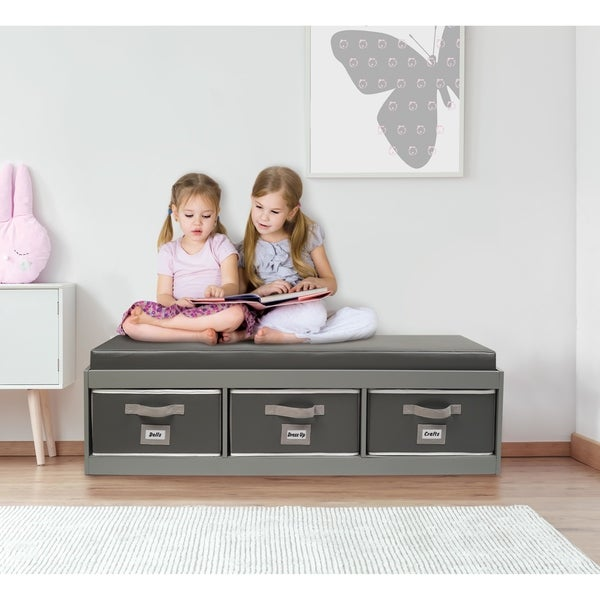 Kid's Storage Bench with Cushion and Three Bins