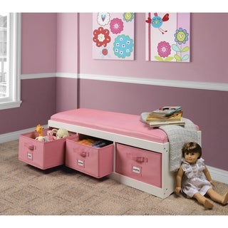 Kid's Storage Bench with Cushion and Three Bins (2 options available)