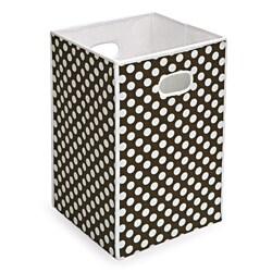 Brown and White Polka Dot Folding Hamper and Storage Bin